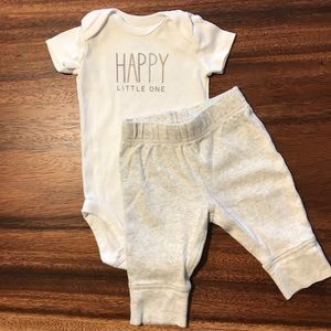 """""""Happy little one"""" onesie and pant set"""